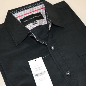 Signature Studio Shirts - Black Long Sleeve Men's S Button Up Dress Shirt